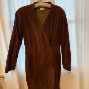 Gucci brown suede wrap dress